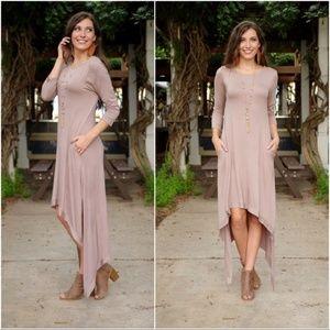 Taupe Hi-Low Dress